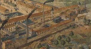 Historic painting of Hutchinson factory